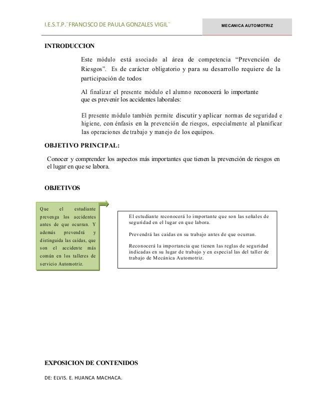 I.E.S.T.P.¨FRANCISCO DE PAULA GONZALES VIGIL¨ MECANICA AUTOMOTRIZ INTRODUCCION Este módulo está asociado al área de compet...