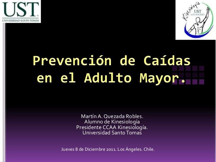 Martín A. Quezada Robles.          Alumno de Kinesiología       Presidente CCAA Kinesiología.         Universidad Santo To...