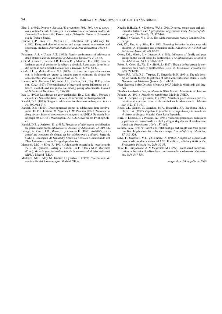 94                                                 MARINA J. MUÑOZ-RIVAS Y JOSÉ LUIS GRAÑA GÓMEZElzo, J. (1992). Drogas y ...