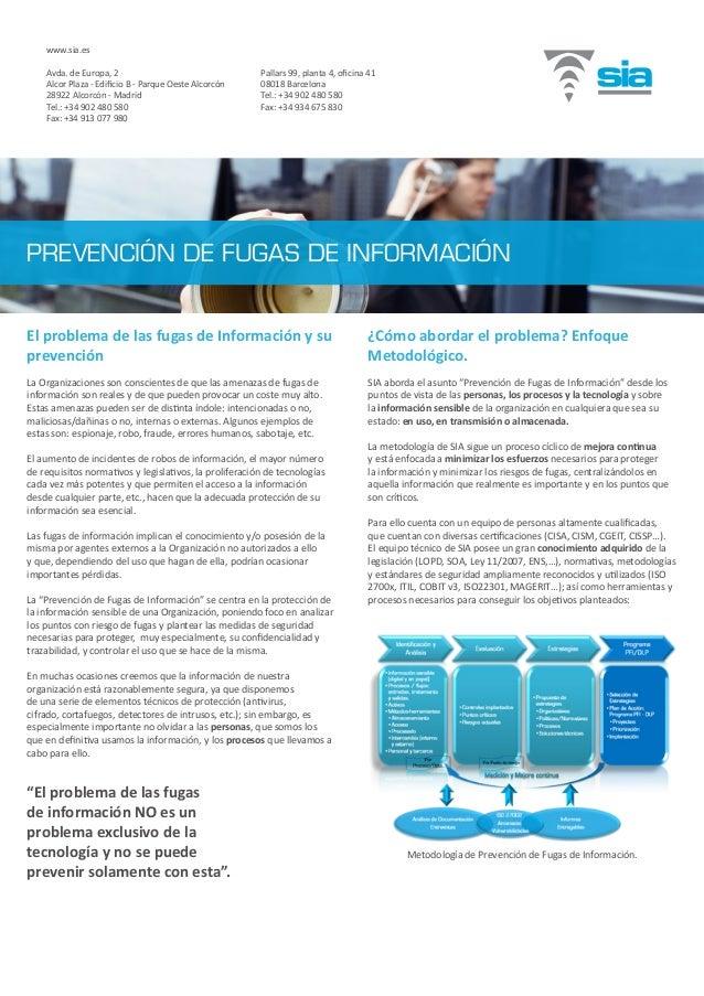 El problema de las fugas de Información y su prevención La Organizaciones son conscientes de que las amenazas de fugas de ...