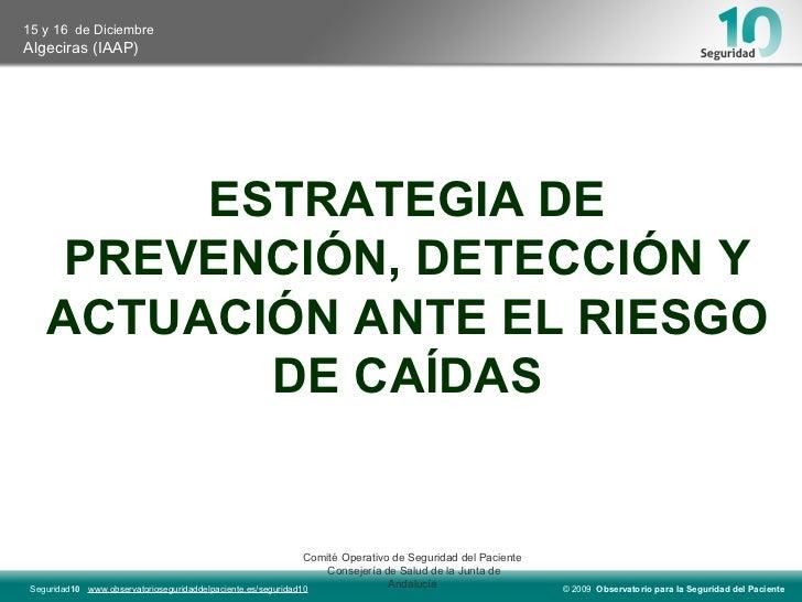ESTRATEGIA DE PREVENCIÓN, DETECCIÓN Y ACTUACIÓN ANTE EL RIESGO DE CAÍDAS Comité Operativo de Seguridad del Paciente  Conse...