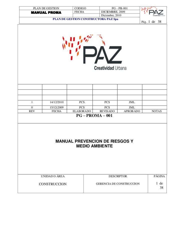 PLAN DE GESTION       CODIGO         PG – PR-001MANUAL PROMA               FECHA   DICIEMBRE, 2009                        ...