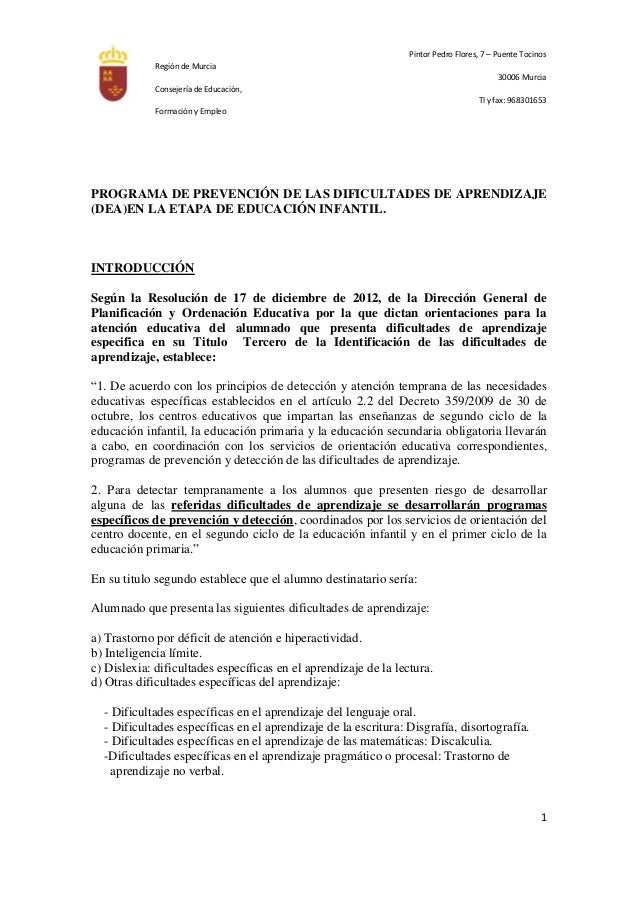 Región de MurciaConsejería de Educación,Formación y EmpleoPintor Pedro Flores, 7 – Puente Tocinos30006 MurciaTl y fax: 968...
