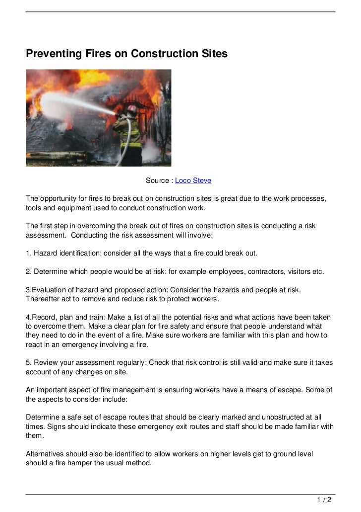 Preventing Fires on Construction Sites                                       Source : Loco SteveThe opportunity for fires ...