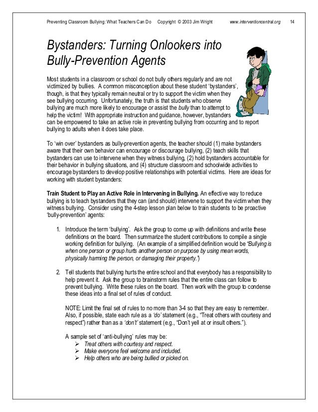Preventing bullying what teachers can do.