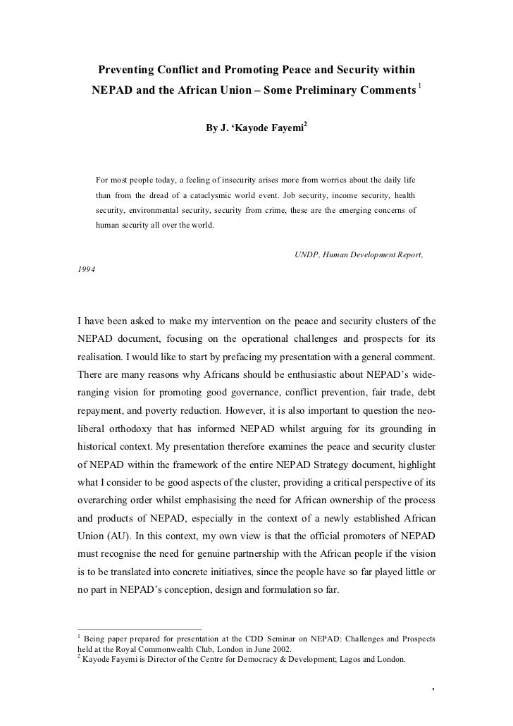 Preventing Conflict and Promoting Peace and Security within    NEPAD and the African Union – Some Preliminary Comments 1  ...