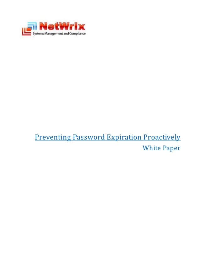 Preventing Password Expiration Proactively                               White Paper