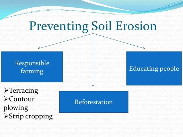 Preventing Soil Erosion   Responsible     farming                      Educating peopleTerracingContour          Refores...