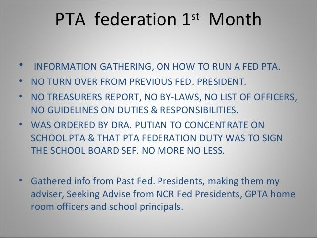 narrative report on the first pta Programme team for their efforts in undertaking this final narrative report  the  pta meets monthly, they now discuss and solve not only school issues but also  the  15 early warning alert response system (ewars) were established in the .