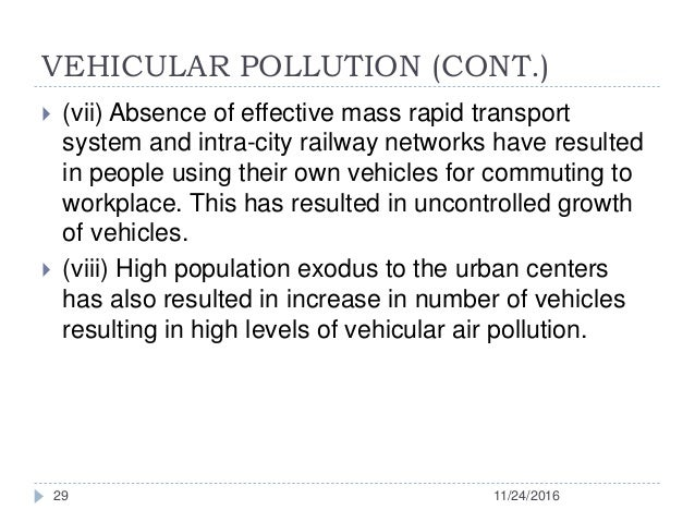 vehicular pollution in hindi Describe types of pollution, sources, harmful effects on human health and control   this ensures that levels of pollutants emitted from vehicle exhaust are not.