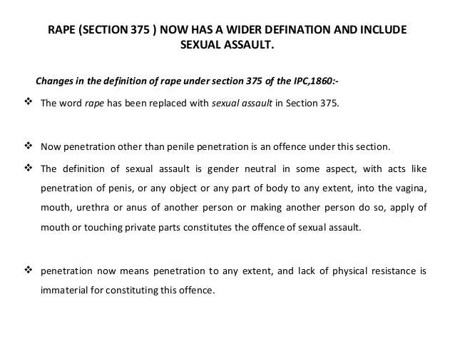 Section of sexual penetration