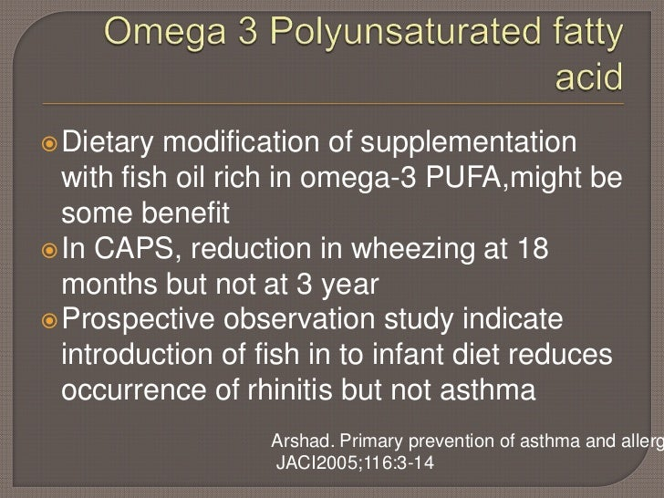 Prevention of allergic diseases for Allergic reaction to fish oil