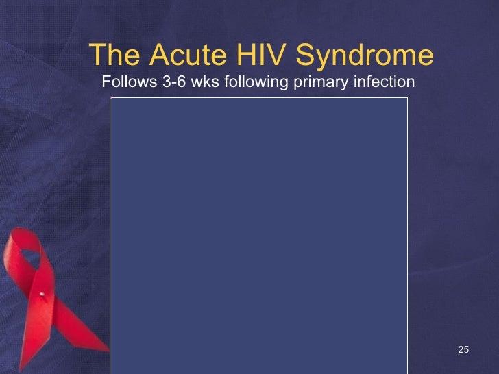 The Acute HIV Syndrome <ul><li>  Follows 3-6 wks following primary infection </li></ul>