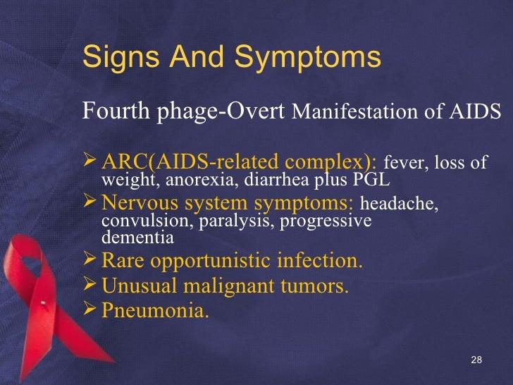 Signs And Symptoms <ul><li>Fourth phage-Overt  Manifestation of AIDS </li></ul><ul><li>ARC(AIDS-related complex):  fever, ...