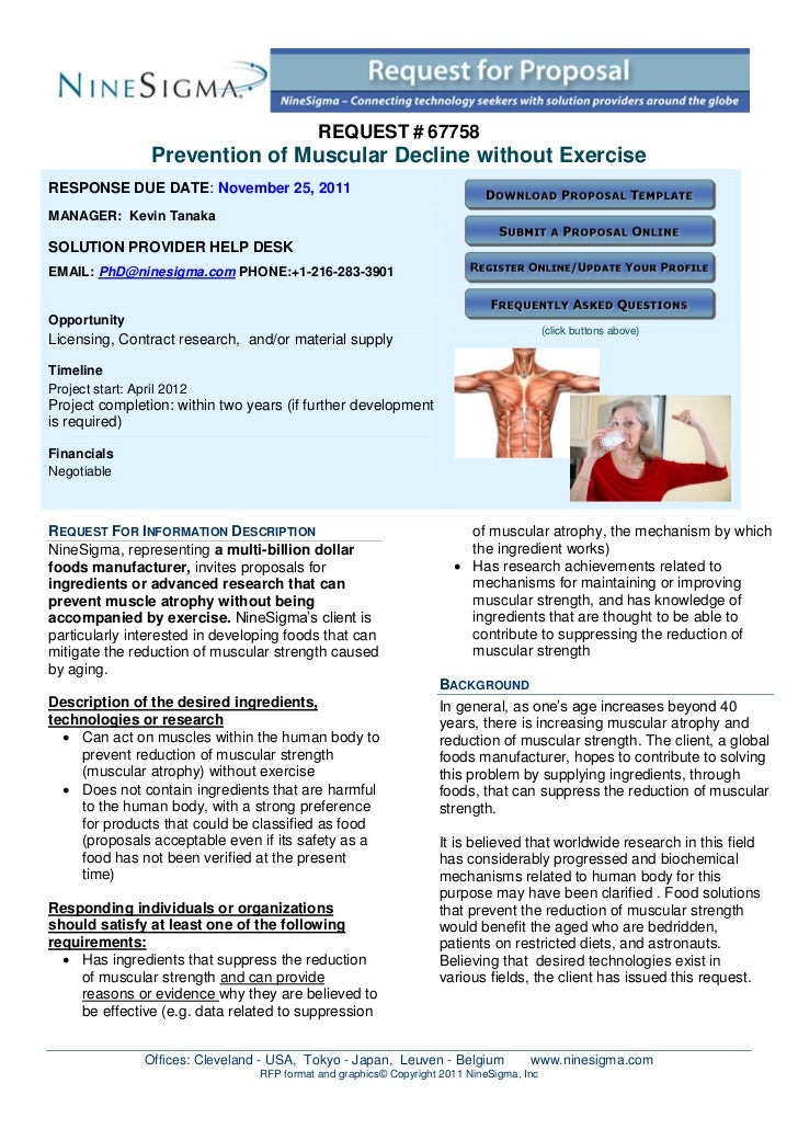 REQUEST # 67758                  Prevention of Muscular Decline without ExerciseRESPONSE DUE DATE: November 25, 2011MANAGE...