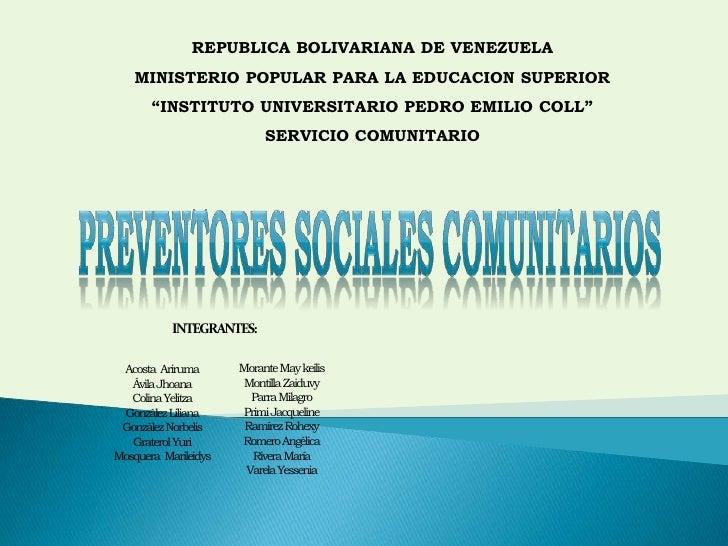 "REPUBLICA BOLIVARIANA DE VENEZUELA<br />MINISTERIO POPULAR PARA LA EDUCACION SUPERIOR<br />""INSTITUTO UNIVERSITARIO PEDRO ..."