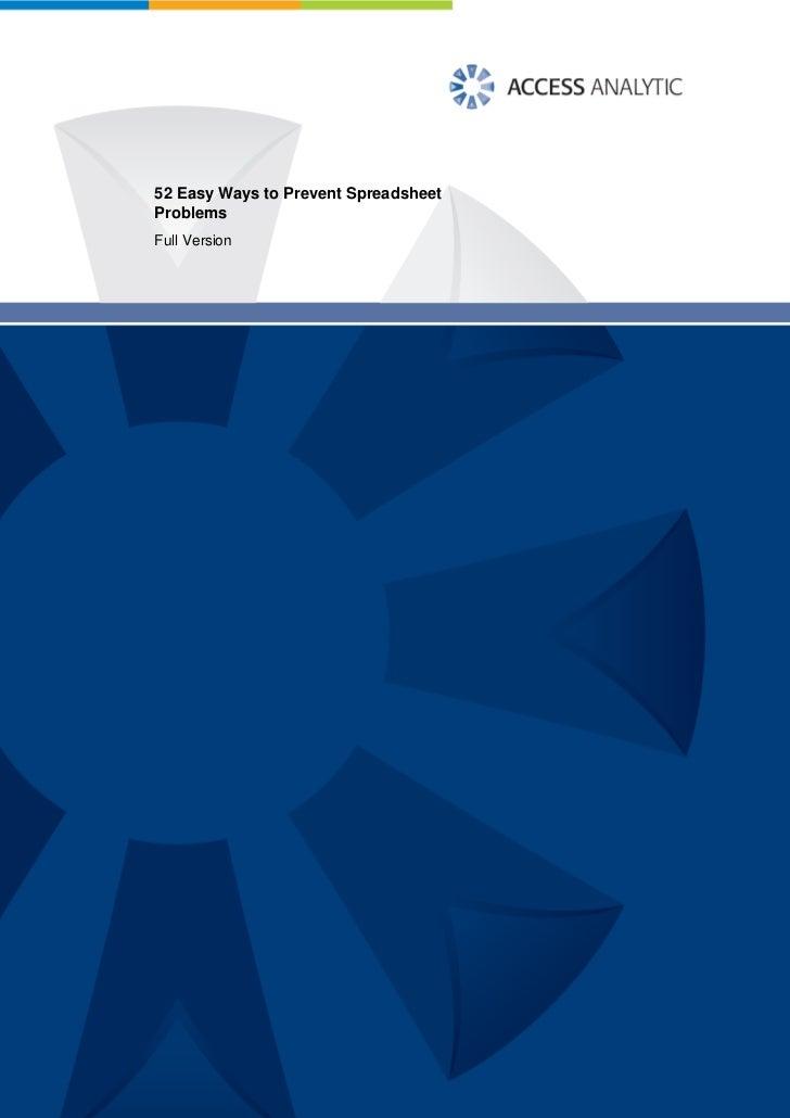52 Easy Ways to Prevent SpreadsheetProblemsFull Version