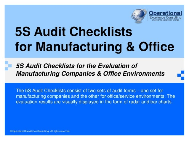 5S Audit Checklists for Manufacturing & Office