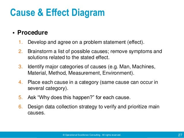 © Operational Excellence Consulting. All rights reserved. 27 Cause & Effect Diagram • Procedure 1. Develop and agree on a ...