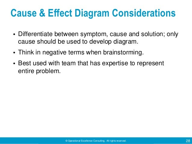 © Operational Excellence Consulting. All rights reserved. 28 Cause & Effect Diagram Considerations • Differentiate between...