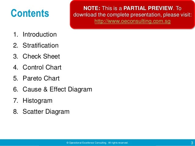 © Operational Excellence Consulting. All rights reserved. 3 Contents 1. Introduction 2. Stratification 3. Check Sheet 4. C...