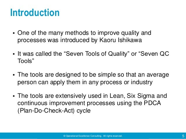 © Operational Excellence Consulting. All rights reserved. 5 Introduction • One of the many methods to improve quality and ...