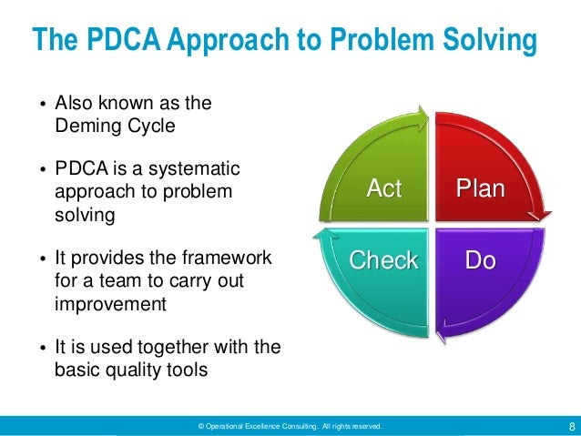 © Operational Excellence Consulting. All rights reserved. 8 The PDCA Approach to Problem Solving • Also known as the Demin...