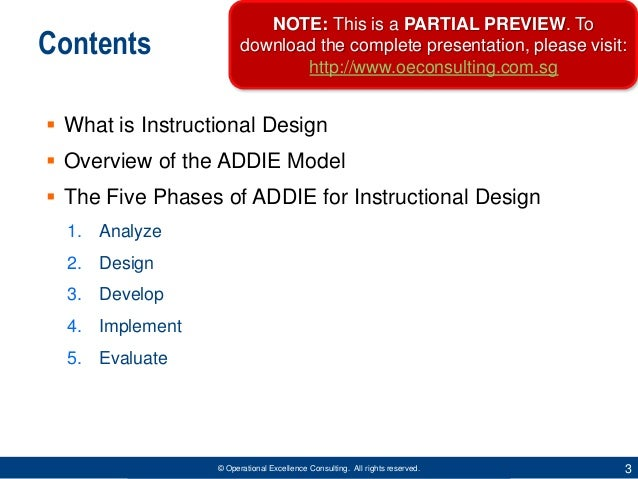 ADDIE Model for Instructional Design by Operational Excellence Consulting Slide 3