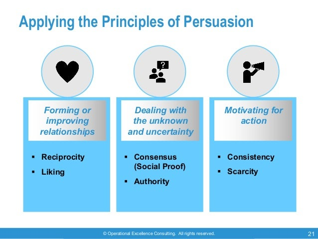 © Operational Excellence Consulting. All rights reserved. 21 Applying the Principles of Persuasion Forming or improving re...