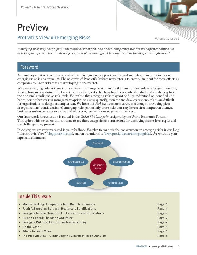 "PreView Protiviti's View on Emerging Risks  Volume 1, Issue 1  ""Emerging risks may not be fully understood or identified, ..."