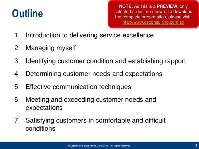 Delivering Service Excellence by Operational Excellence Consulting Slide 3