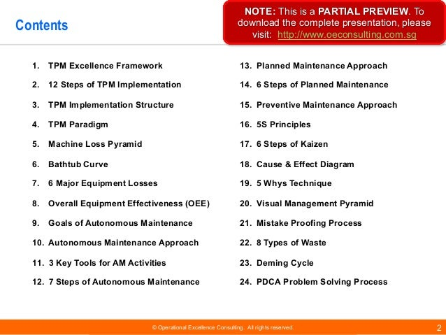 © Operational Excellence Consulting. All rights reserved. 2 Contents 1. TPM Excellence Framework 2. 12 Steps of TPM Implem...