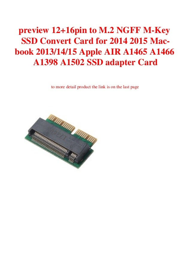 12+16pin M.2 NGFF M-Key SSD Convert Card Adapter For 2013 MacBook