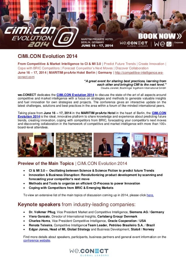 CiMi.CON Evolution 2014 From Competitive & Market Intelligence to CI & MI 3.0 | Predict Future Trends | Create Innovation ...