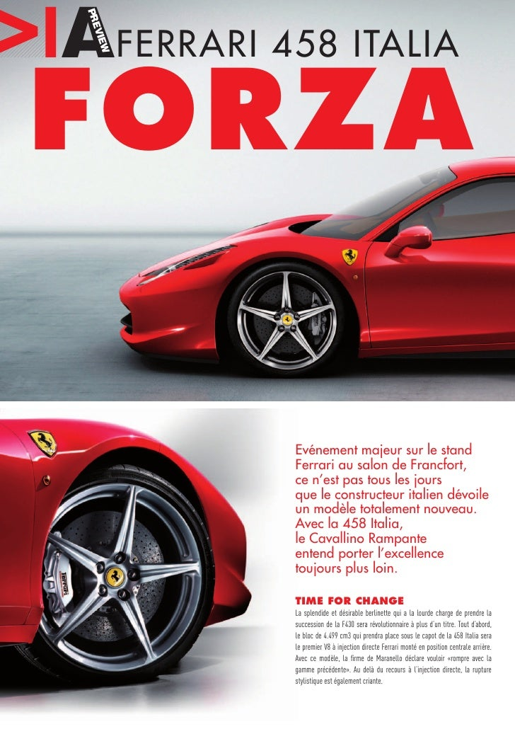 IAFERRARI 458 ITALIA   PRE      VIE     FORZA   W                 Evénement majeur sur le stand             Ferrari au sal...