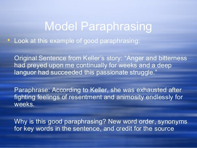 Paraphrase words and sentence me