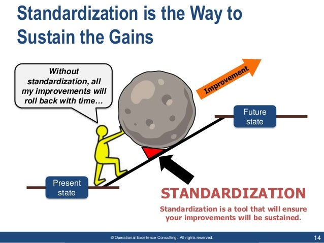 © Operational Excellence Consulting. All rights reserved. 14 Standardization is the Way to Sustain the Gains Present state...
