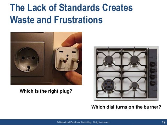 © Operational Excellence Consulting. All rights reserved. 19 The Lack of Standards Creates Waste and Frustrations Which di...