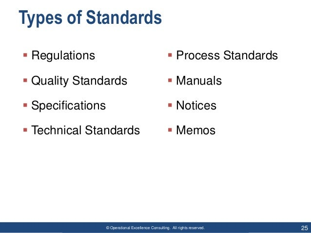 © Operational Excellence Consulting. All rights reserved. 25 Types of Standards  Regulations  Quality Standards  Specif...
