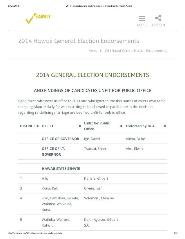 10/21/2014 2014 Hawaii Election Endorsements - Hawaii Family Forum Action    Menu  2014 Hawaii General Election Endorseme...