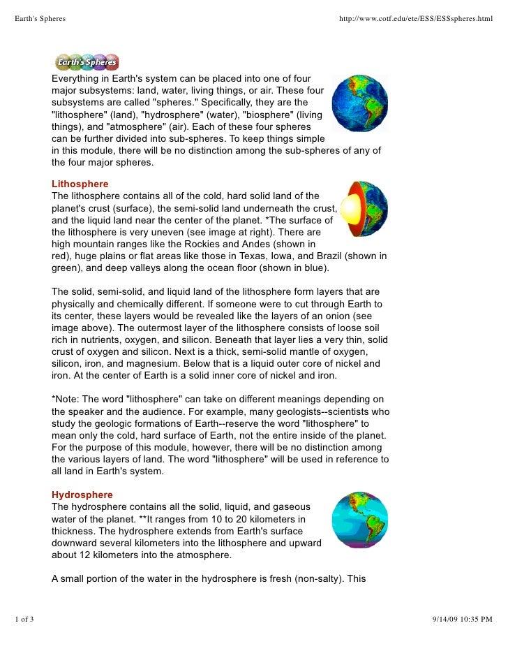 Earth's Spheres                                                                 http://www.cotf.edu/ete/ESS/ESSspheres.htm...