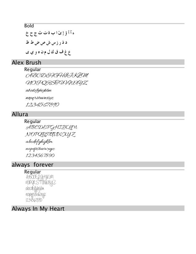 Preview of fonts