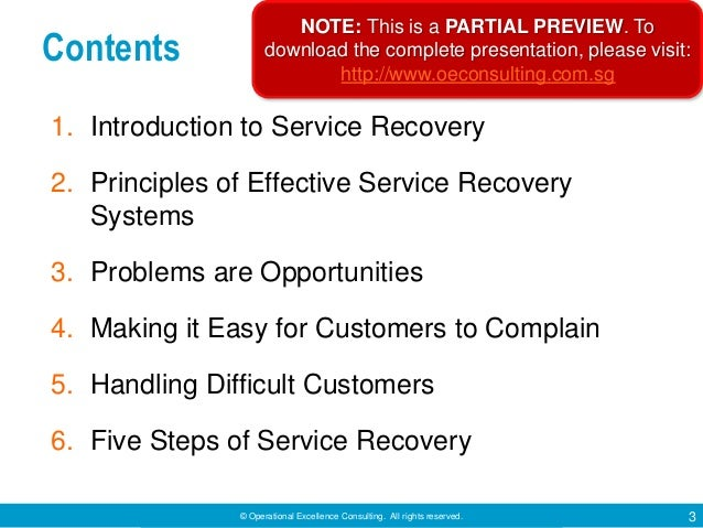 Service Recovery by Operational Excellence Consulting Slide 3