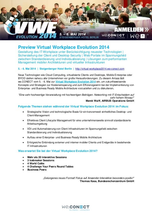 Preview Virtual Workplace Evolution 2014 Gestaltung des IT-Workplace unter Berücksichtigung neuester Technologien   Sicher...