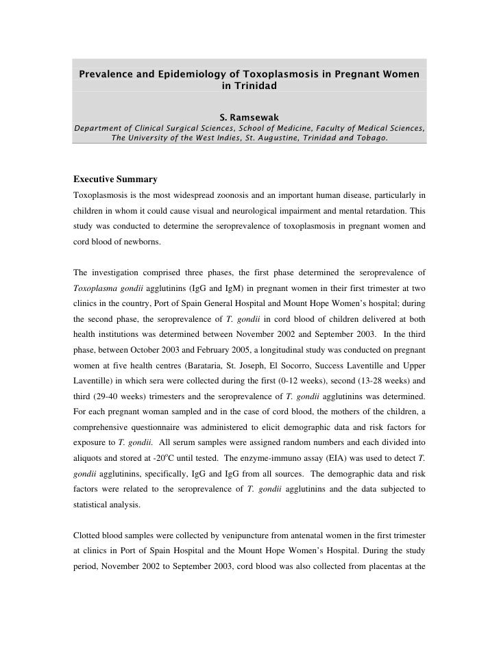 Prevalence and Epidemiology of Toxoplasmosis in Pregnant Women                            in Trinidad                     ...