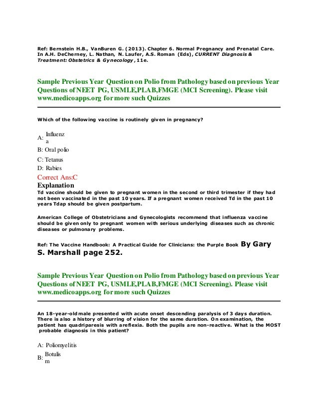 Previous year question on polio based on neet pg, usmle, plab and fmg…