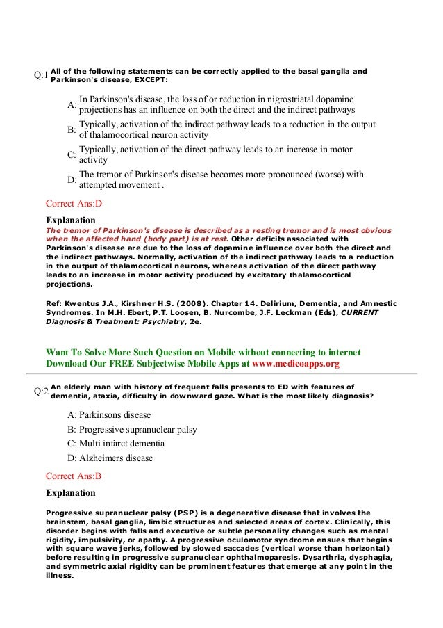 Previous years questions on parkinson's disease for neet ...