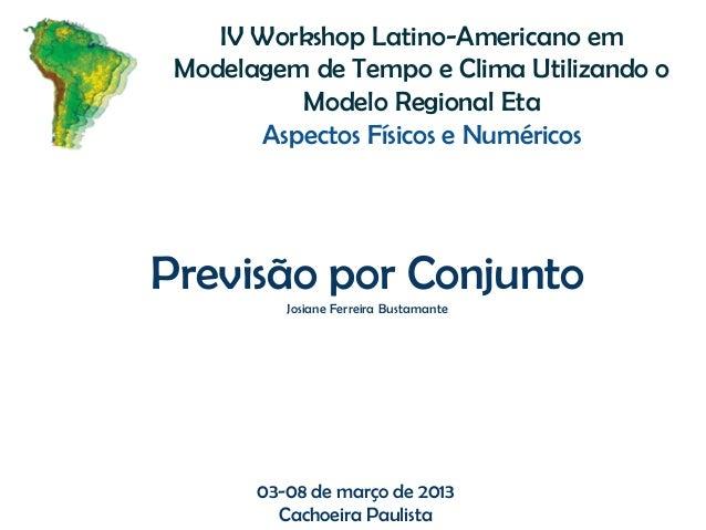 03-08 de março de 2013Cachoeira PaulistaIV Workshop Latino-Americano emModelagem de Tempo e Clima Utilizando oModelo Regio...