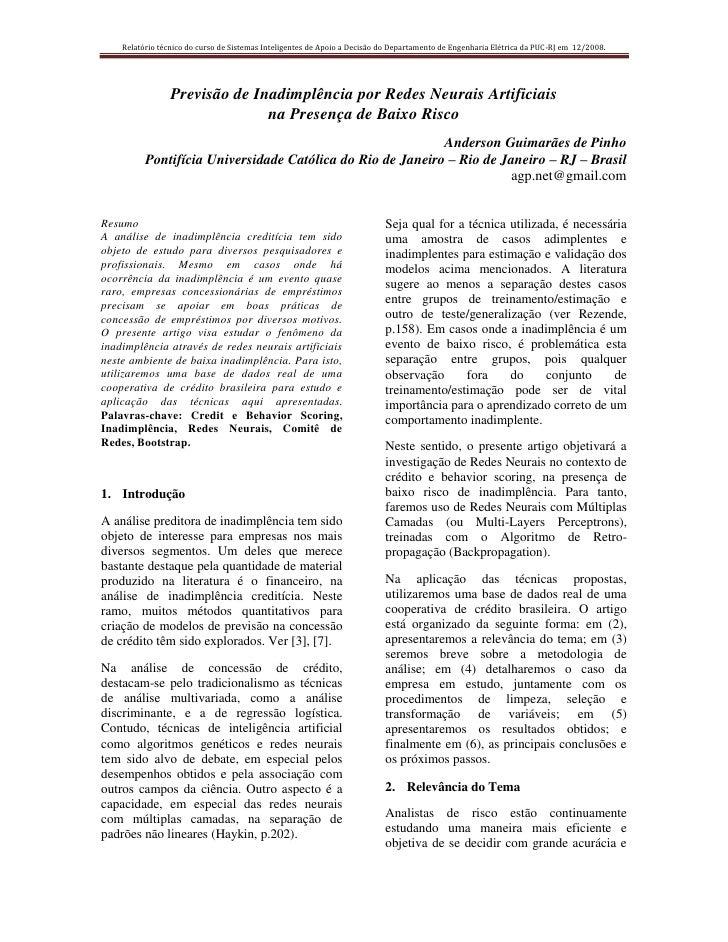 Relatório técnico do curso de Sistemas Inteligentes de Apoio a Decisão do Departamento de Engenharia Elétrica da PUC-RJ em...