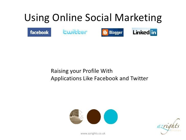 Using Online Social Marketing<br />Raising your Profile With <br />Applications Like Facebook and Twitter<br />www.azright...